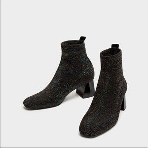 zara sock style high heel boots